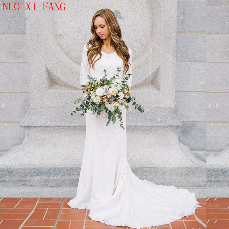 2020 Sexy Cheap Boho Wedding Dress With Long Sleeve V Neck Lace Mermaid White Ivory Beach Bridal Gown Wedding Gown Free Shipping