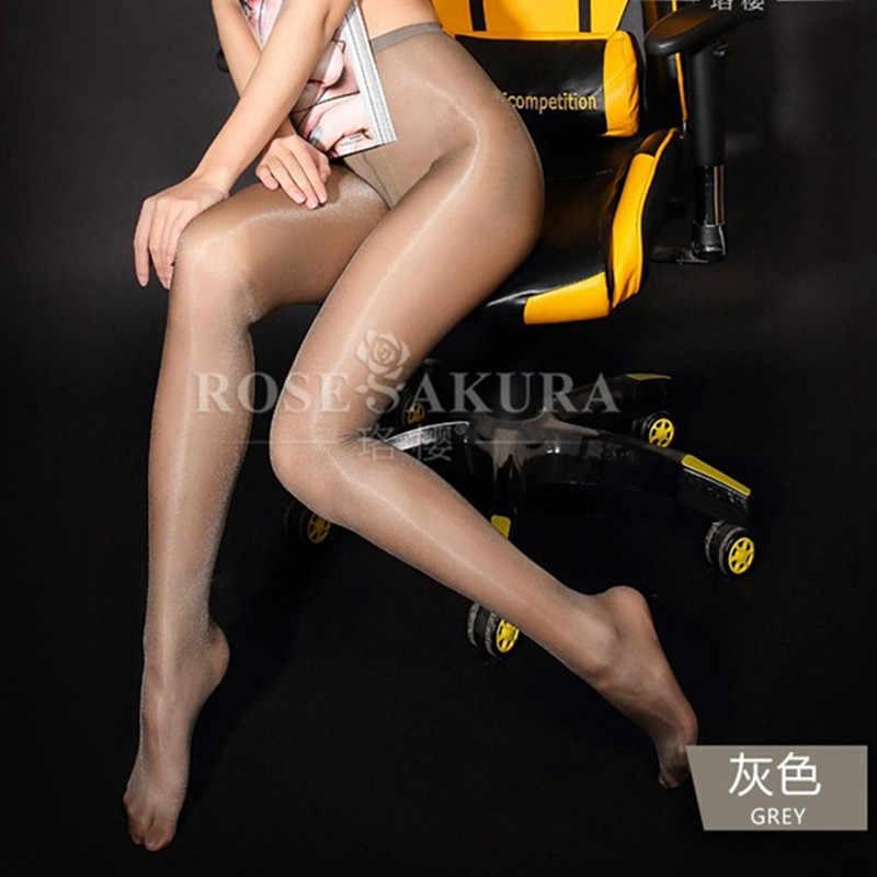 여성 30 데니스 오일 샤인 하이 웨이스트 스타킹 반짝이 팬티 스타킹 오픈 가랑이 섹시한 반짝이 & 광택 다리 0805