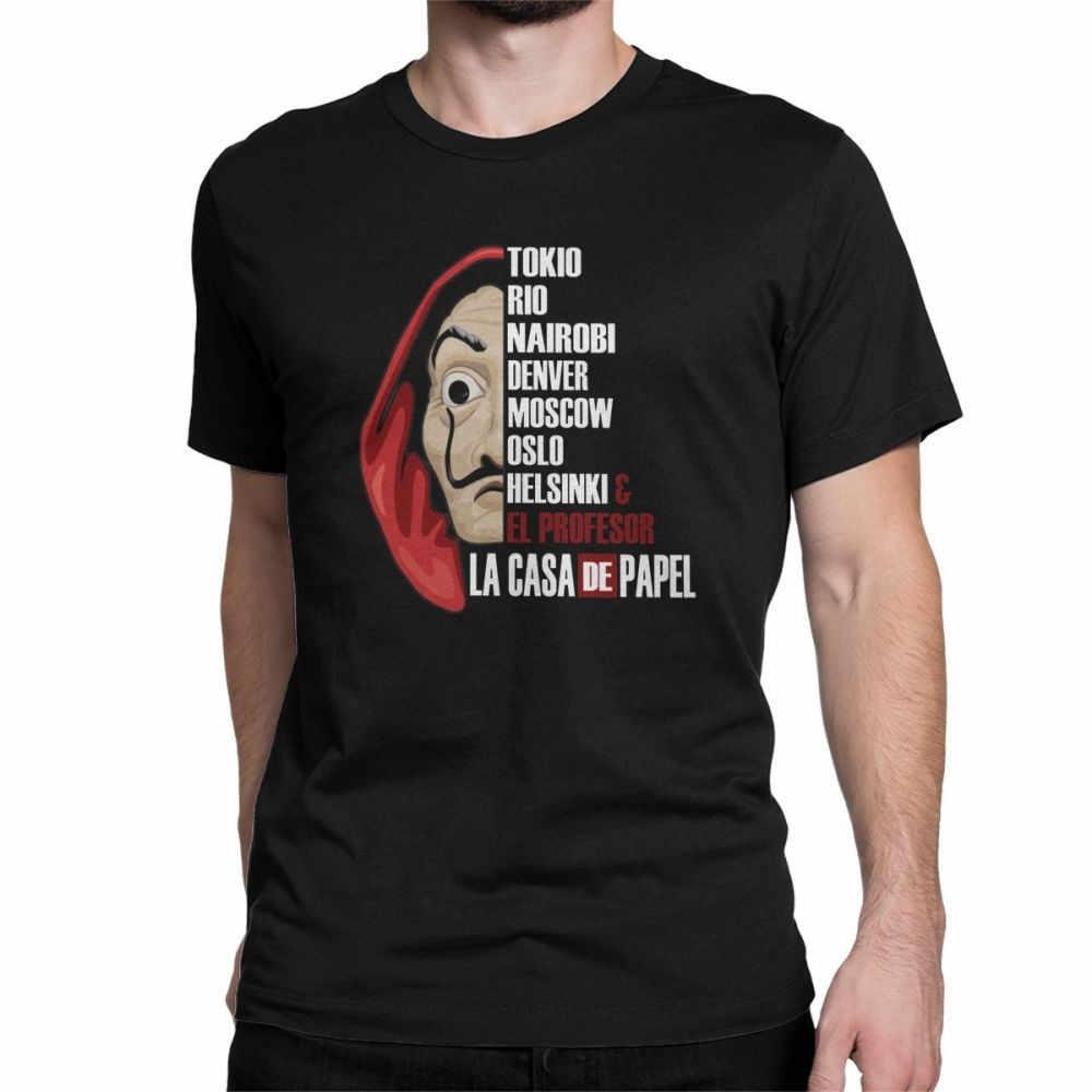 Men's La Casa De Papel T-Shirt Money Heist TV Series Vintage Crew Neck House of Paper Tops 100% Cotton Tees Gift Idea T Shirt