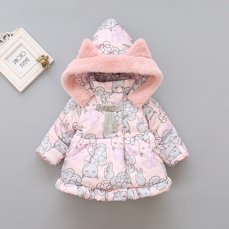 2019 Kids Baby Girls Jackets Baby Clothing Kids Hooded Coats Winter Toddler Warm Cartoon Printed Jacket Baby Outerwear 2-5Y 2