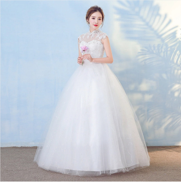 Wedding Dress 2020 New Chinese Style High Neck Lace Flower Princess Ball Gown Plus Size Floor Length Cheap Slim Robe De Mariee