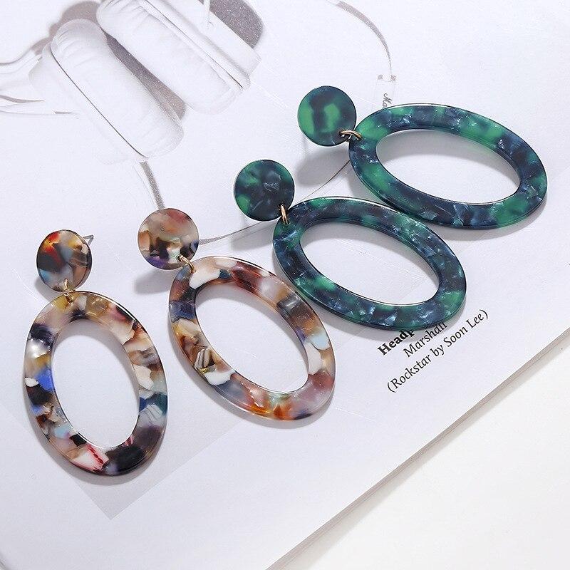 Long Acrylic Drop earrings Boho 2019 statement dangle earrings geometric big luxury jewelry oval earrings