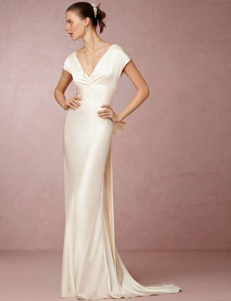 V Neck Backless Bow Satin Wedding Dress Bridal Gown With Sweep Train Factory Price