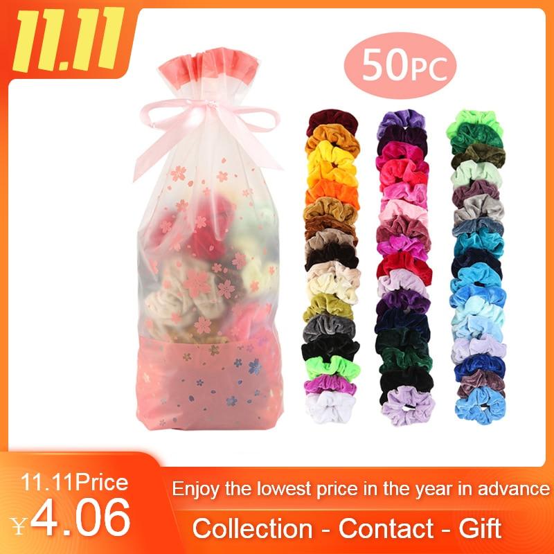 50/Pcs Scrunchie Pack Velvet Elastic Hair Bands For Women Or Girls Hair Accessories Gumki Do Wlosow