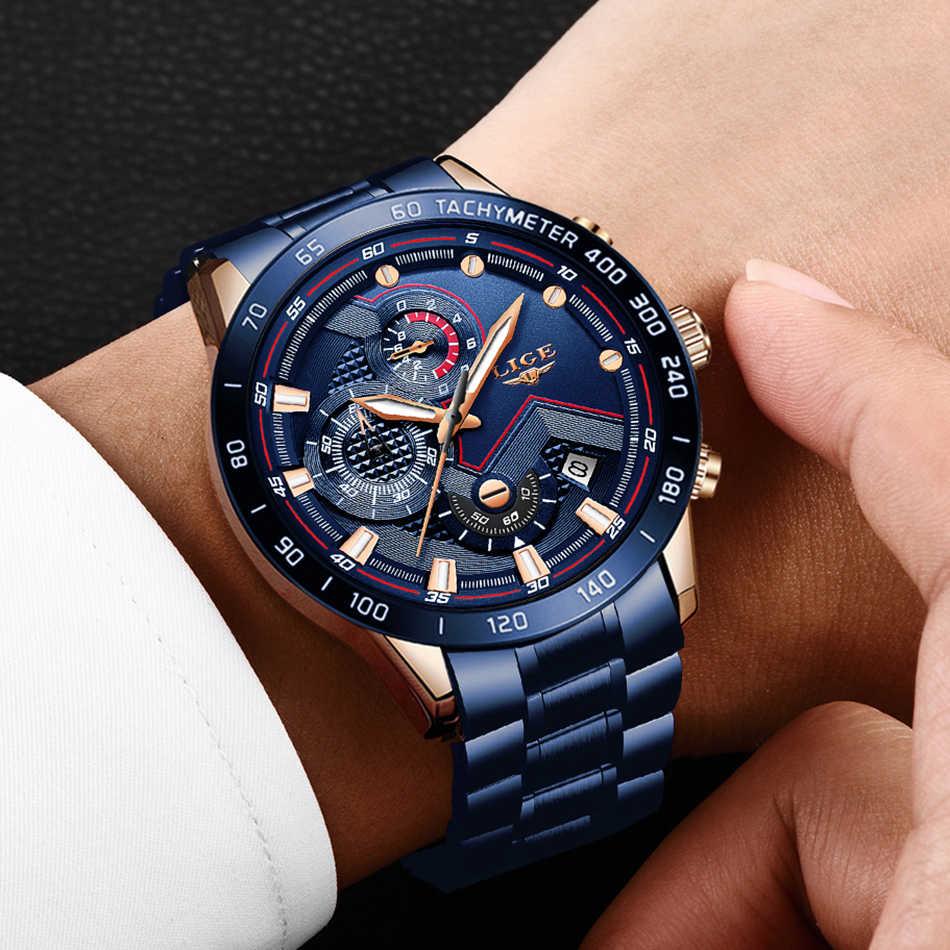 LIGE İş erkekler İzle lüks marka mavi paslanmaz çelik kol saati Chronograph ordu askeri kuvars saatler Relogio Masculino