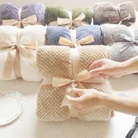 Manta de franela de lana suave, edredón liso, funda de felpa para cama, sofá, regalo de Navidad, mantas para camas, envío directo