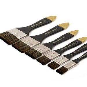Image 1 - 6 Pcs Artist Flat Paint Brush Large Wash Brushes Set for Varnishes Acrylic Painting Watercolor Wood Wall Furniture Brush Cleaner