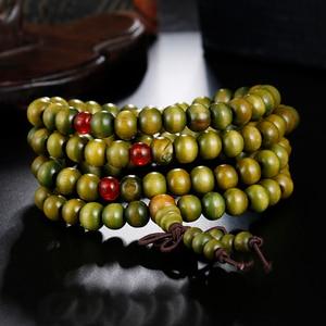 Image 5 - 1Pcs 8mm Natürliche Sandelholz Buddhistischen Buddha Meditation Holz Gebetskette Mala Armband Armreifen Frauen Männer Schmuck 108 Perlen bijoux