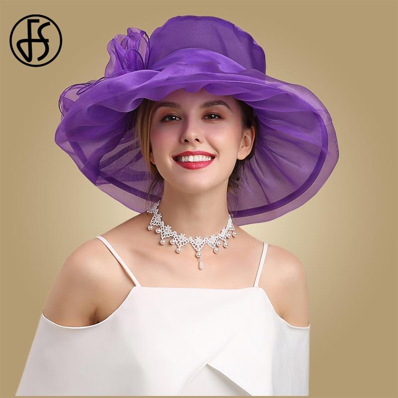 FS Purple Wide Brim Fedoras Hats For Women Organza Church Caps Summer Big Flower Sun Hat Foldable White Pink Elegant Ladies Cap