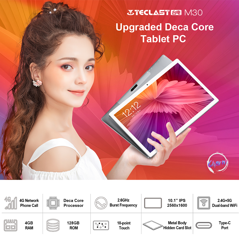 Teclast M30 4GB + 128GB Tablet 10.1 inch 2560x1600 2.5K Display MT6797X X27 10 Core Android 8.0 Tablets PC 4G Phone Call Type-C
