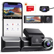 Dash-Cam Gps Wifi Dual-Channel Inside AZDOME Night-Vision Rear Front Three-Way 1080P