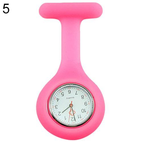 Модные повседневные женские часы Fob, милые силиконовые часы, часы для медсестры, брошь Fob, туника, кварцевые часы с механизмом, медицинские часы, reloj de b - Цвет: Розовый