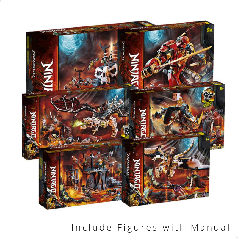 Ninjagoed 2020 Skull Sorcerer Dungeon and Wu Battle Dragon Fire Stone Mech Mino Creature Season 12 13 Fly Building Blocks Bricks