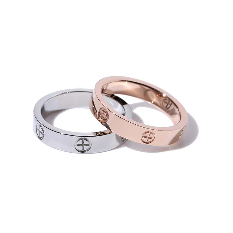 Classic Stainless Steel Screw Rose Gold Silver Color Rings Filled Love Wedding for Men Women Engagement Jewelry (GR228) 1