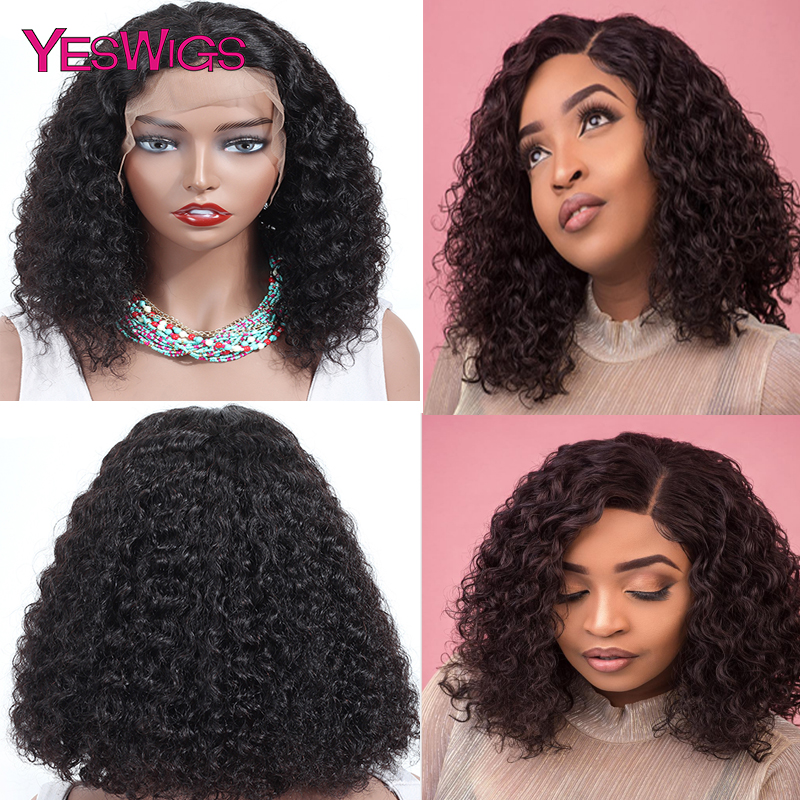 YESWIGS Kinky Curly Lace Front Human Hair Wigs With Baby Hair Brazilian Remy Hair Short Curly Bob Wigs For Women Pre-Plucked Wig