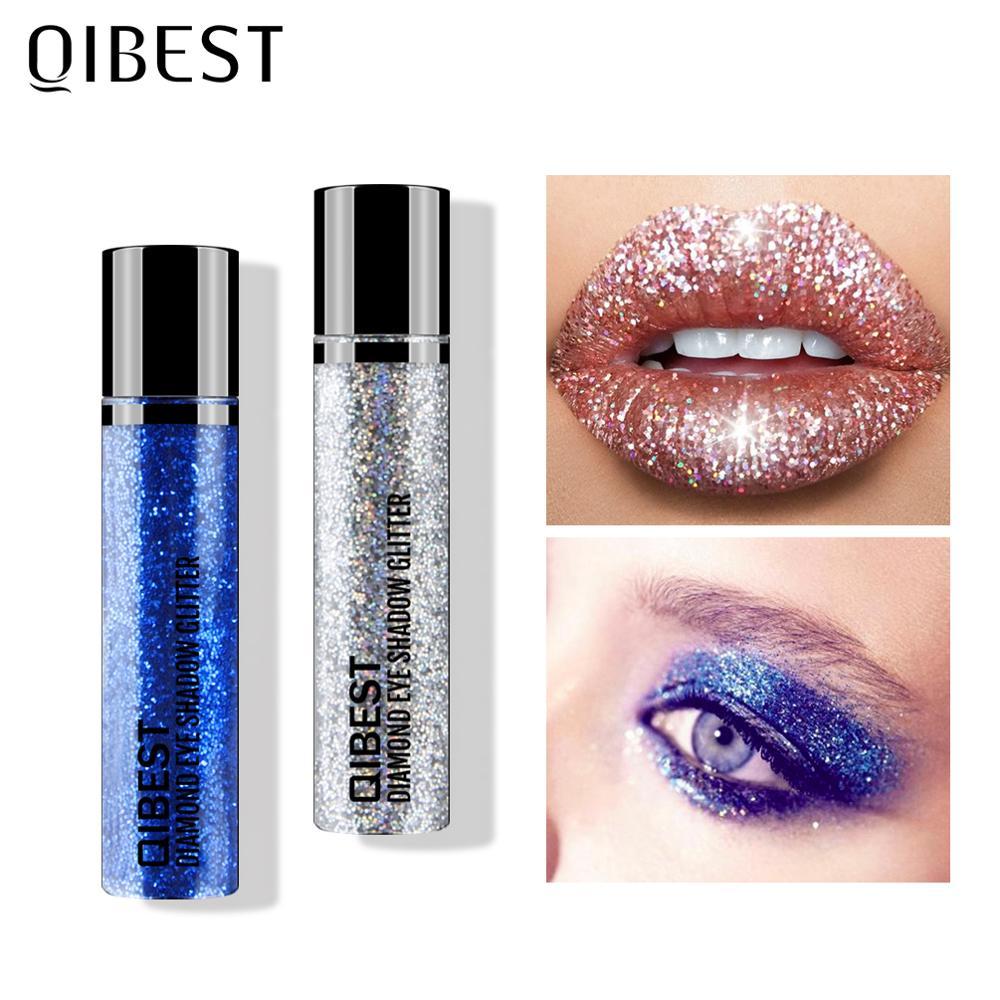 Блестящие тени для век QIBEST, 30 цветов, косметика, макияж, стойкие алмазные губы, макияж, пигментная пудра для ногтей, косметический блеск для т...