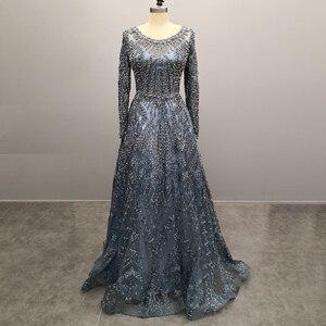 Image 3 - Novo luxo miçangas manga longa vestidos de celebridades dubai árabe muçulmano robe de soiree rendas formal festa à noite vestido l5608