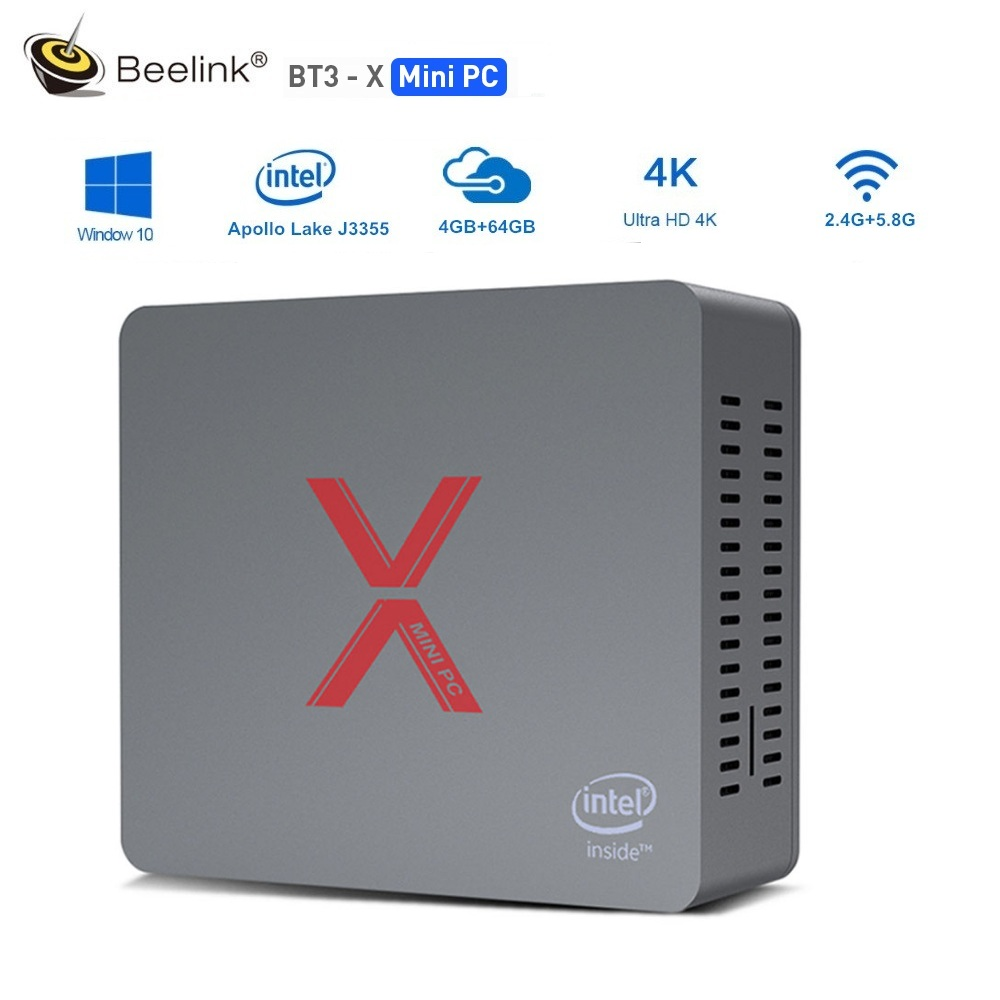 Beelink BT3-X Mini PC Intel Apollo Lake J3355 Intel Graphics 500 Windows 10 LPDDR4 64GB EMMC 2.4GHz+5.8GHz WiFi 1000Mbps