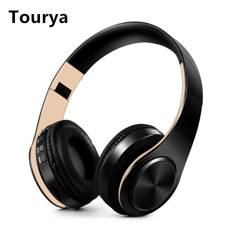 Tourya B7 Wireless Headphones Bluetooth Headset Foldable Headphone Adjustable Earphones With Mic for phone Pc Lattop Mp3 TV image