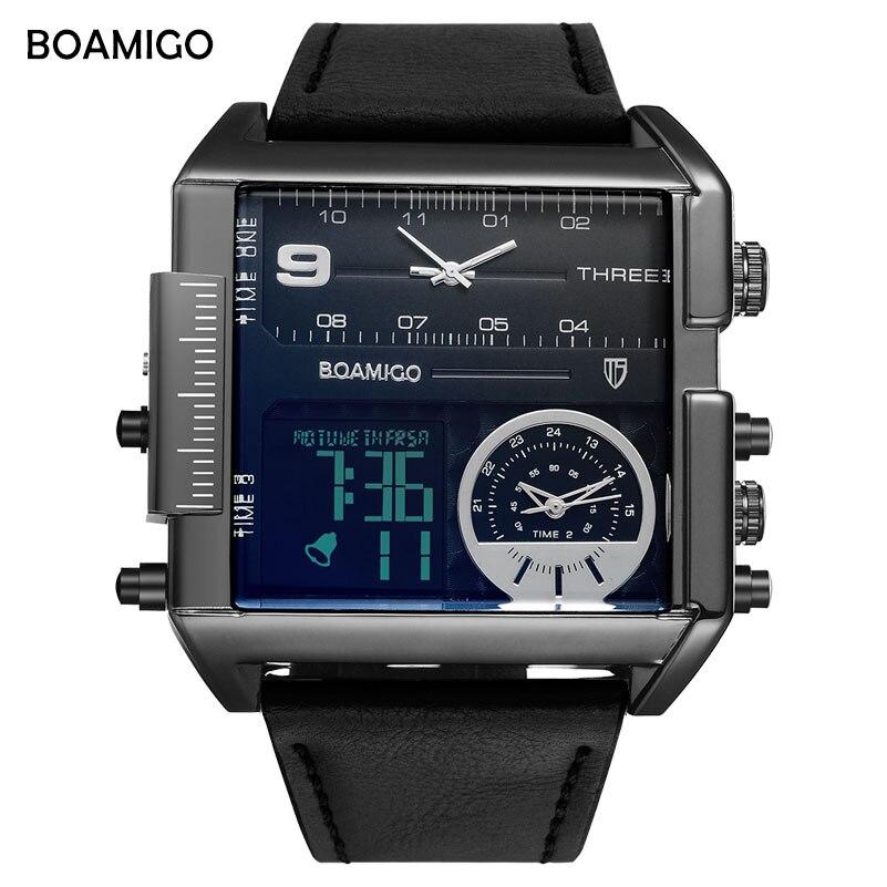 Marka boamigo mężczyźni sport zegarki 3 strefa czasowa big man moda wojskowy zegarek led skórzane zegarki kwarcowe relogio masculino 6
