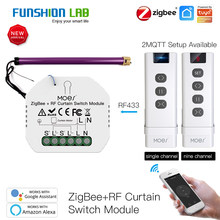 FUNSHION DIY ZigBee Smart RF433 Curtain Switch Module for Motorized Roller Blinds Motor 2MQTT Smart Life APP Alexa Google Home