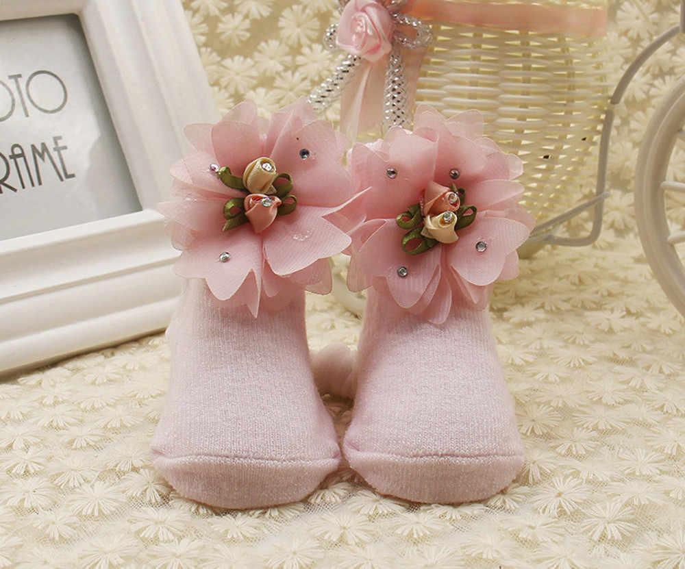 Baby Kid Girls wygodne skarpetki Floral śliczne bawełniane skarpety dziecięce kapcie cieplejsze skarpetki dziecięce nowonarodzone zimowe skarpetki Kawaii