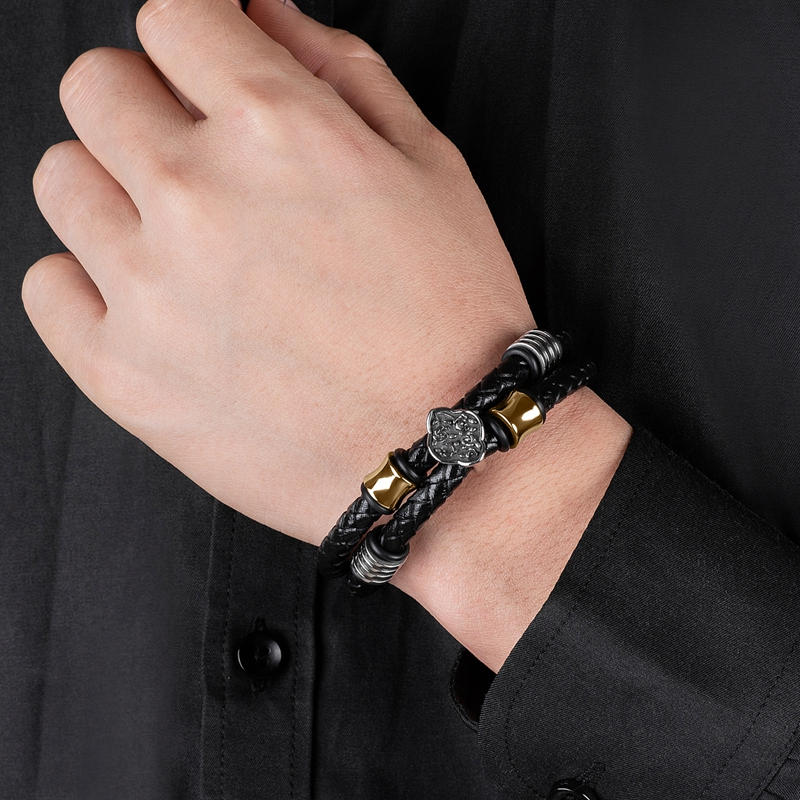 2020 Male Bracelet Braided Genuine Leather Stainless Steel Four Leaf Flower Punk Bangle Hot Jewelry