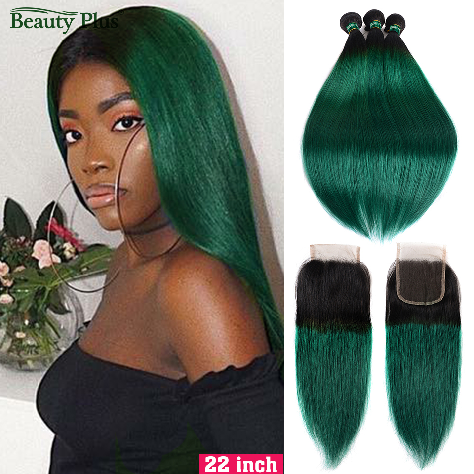 Beauty Plus Human Hair Bundles With Closure Ombre 1B Green Brazilian Straight Weave Extension 3 Bundles With Closure Non-Remy