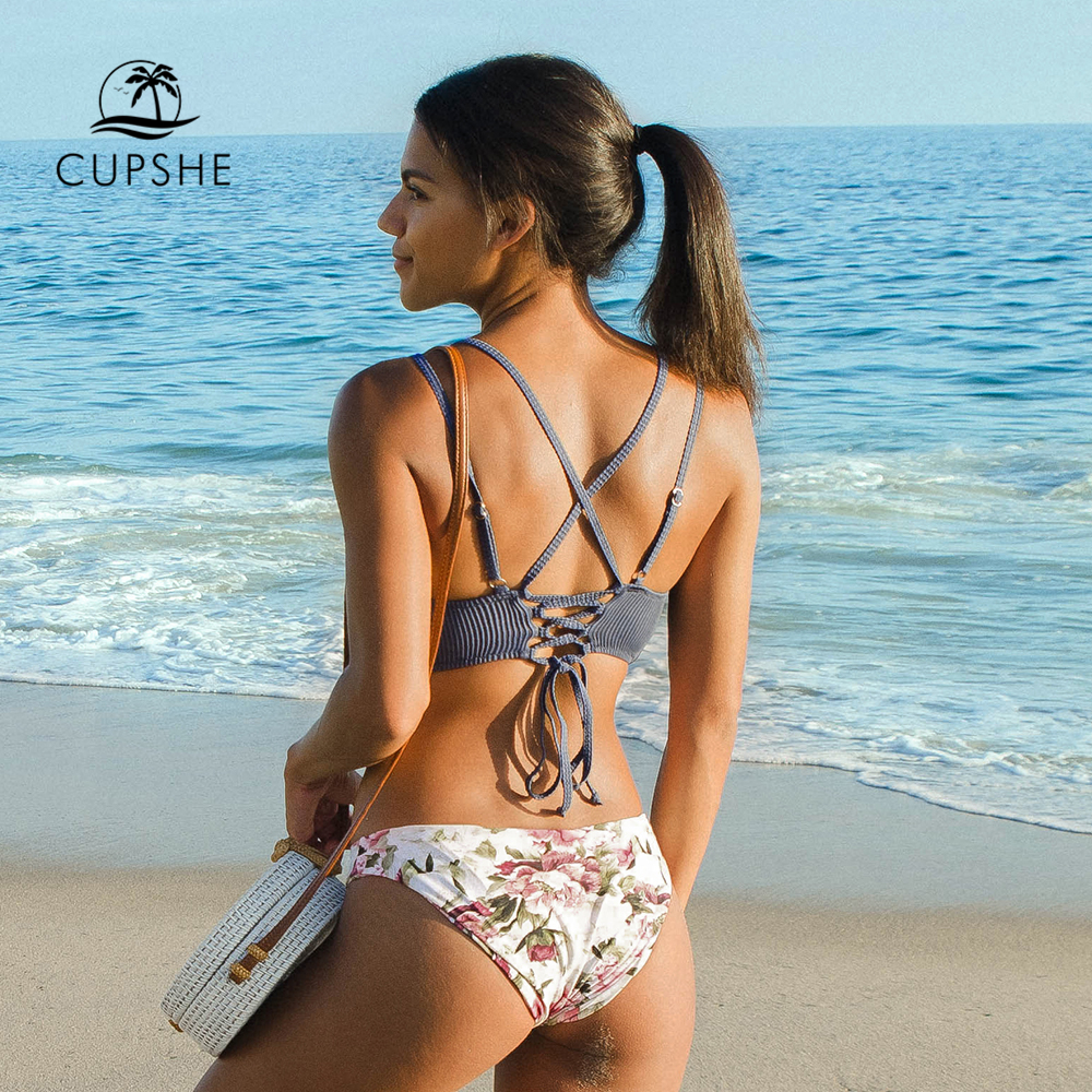 Image 2 - CUPSHE Blue Top with Floral Low waist Bottom Bikini Sets Sexy Lace Up Swimsuit Two Pieces Swimwear Women 2020 Beach Bathing SuitBikini Set   -