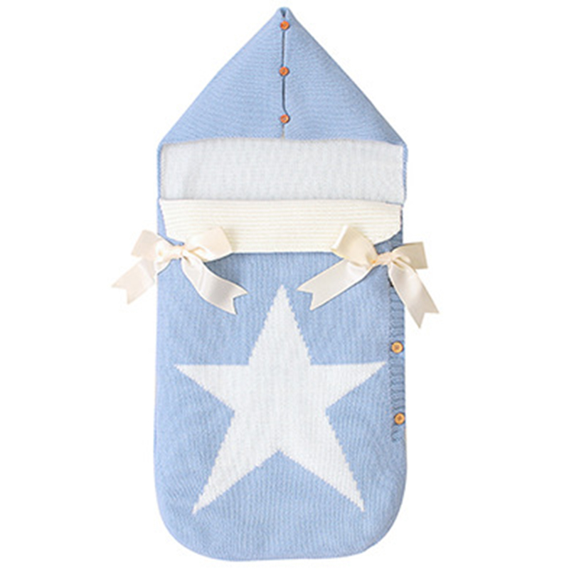 FBIL-Envelopes For Newborns Five Star Knitted Sleeping Bags Autumn Grey Button Up Infant Baby Swaddle Wrap Sleep Sacks Winter Bl