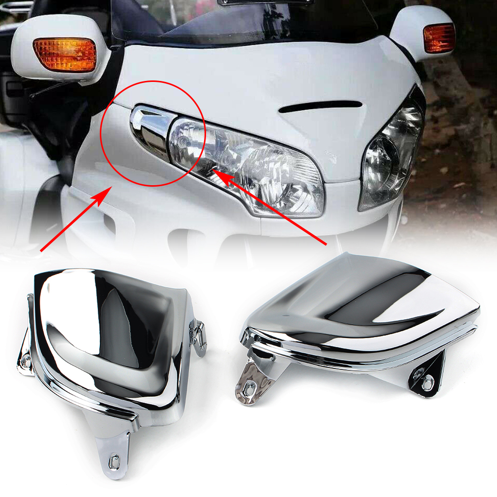 2x GL1800 Motorcycle Front Headlight Covers Decoration for <font><b>Honda</b></font> Goldwing <font><b>Gold</b></font> <font><b>Wing</b></font> <font><b>GL</b></font> <font><b>1800</b></font> 2001-2008 2009 2010 2011 Chrome ABS image
