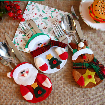 Christmas Decoration Cutlery Cover Merry Christmas Decorations for Home Christmas Gifts Navidad 2020 Noel Happy New Year 2021 image