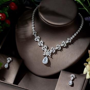 HIBRIDE Bridal Leaf Pendant Jewellery Set Cubic Zirconia Wedding Necklace and Earrings Luxury Bridal Jewellery Set Bijoux N-1386 фото