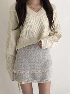 Knitting Sweater Twist American-Style Autumn Winter Women European Retro Back-Tie And