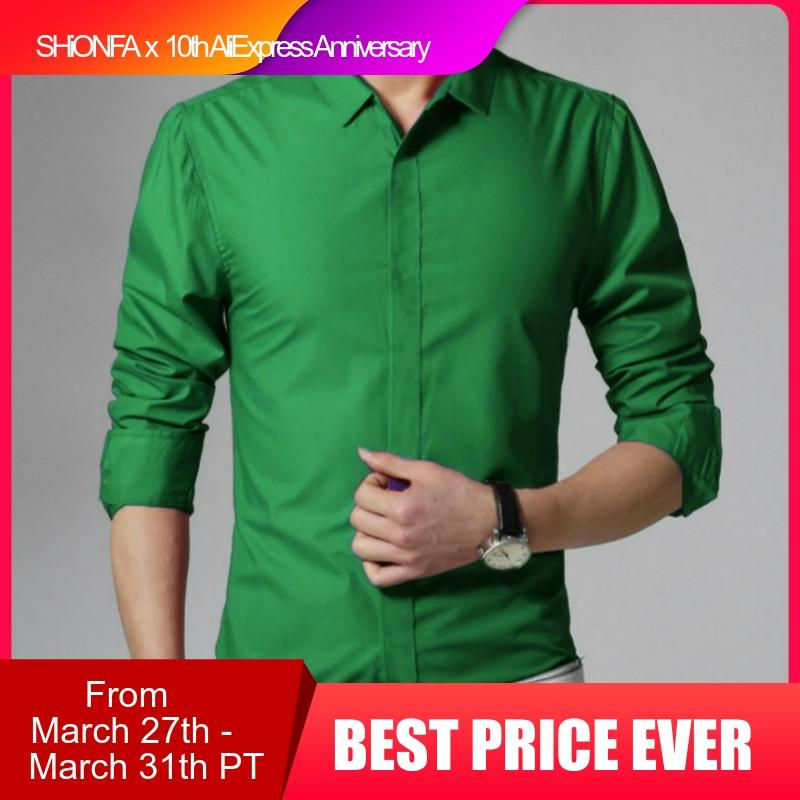 Spring New Men's Long Sleeve Shirts Cotton Solid Slim Tees Turn Down Collar Fashionable Tops Male Casual Green Shirts