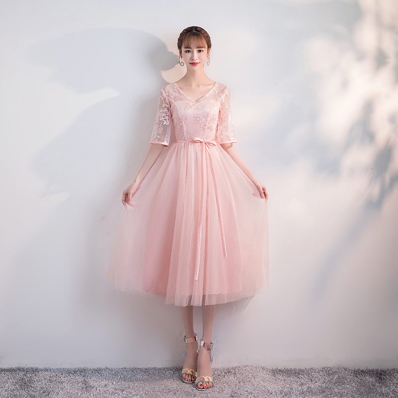 Image 4 - Korean Version Plus Size Long style Shoulder Screen Sisters Banquet Hosts Flower Pink Cocktail Dresses Cocktail Dress PartyCocktail Dresses   -