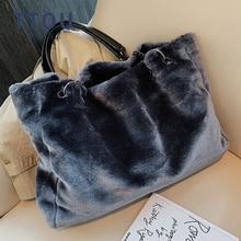 Faux Fur Women Shoulder Bag Casual Plush Lady Tote Handbag Fashion Chain Larger Capacity Shopping Bag Travel Purse Female Winter