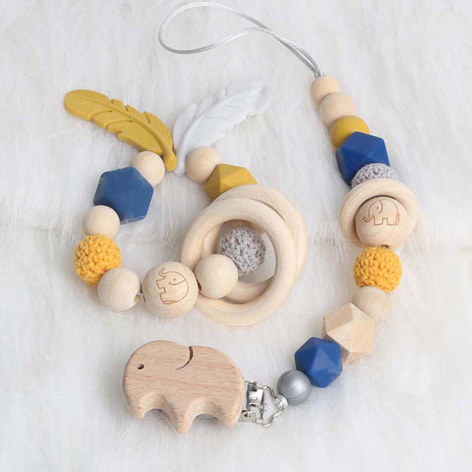 Baby Pacifier Chain Holder For Nipples Dummy Clips Wooden Bracket Clip Geometric Crochet Safety Silicone Beads Wood Teether Toys