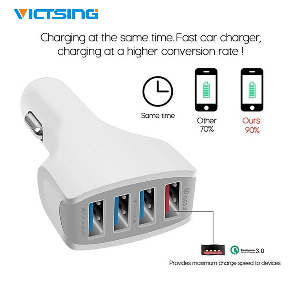 Victsing Fast <font><b>QC3.0</b></font> <font><b>4</b></font> <font><b>Port</b></font> <font><b>USB</b></font> Car Charger 12/32V Power for iPhone Samsung Xiaomi Tablet Smart Devices Charger Car Accessories image