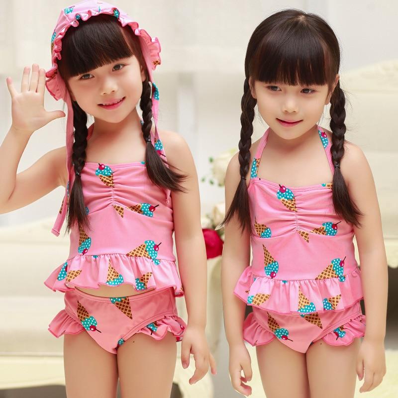 KID'S Swimwear Korean-style New Style Medium-small Girls GIRL'S Split Skirt Bikini Three-piece Set-Baby Swim Bathing Suit