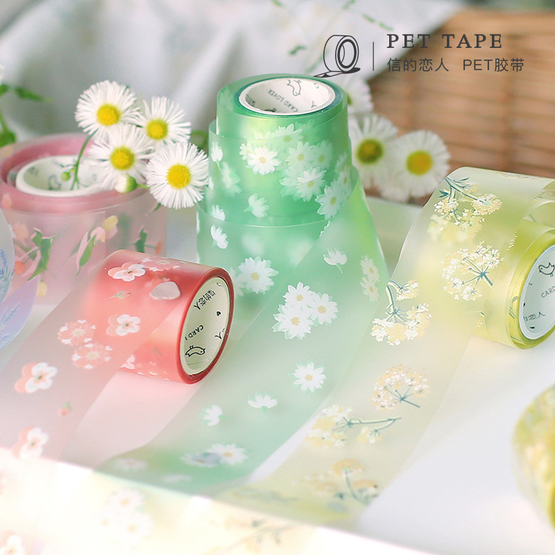 1pcs Lovely Flower PET Transparent Washi Masking Tape Diary Scrapbooking DIY Decoration Sticker Adhesive Tape Japanese Stickers