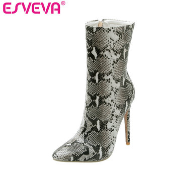 ESVEVA 2020 Women Shoes Ankle Boots Pointed Toe Sexy Elegant Zipper Thin High Heel Motorcycle Platform Boot Size 34-43