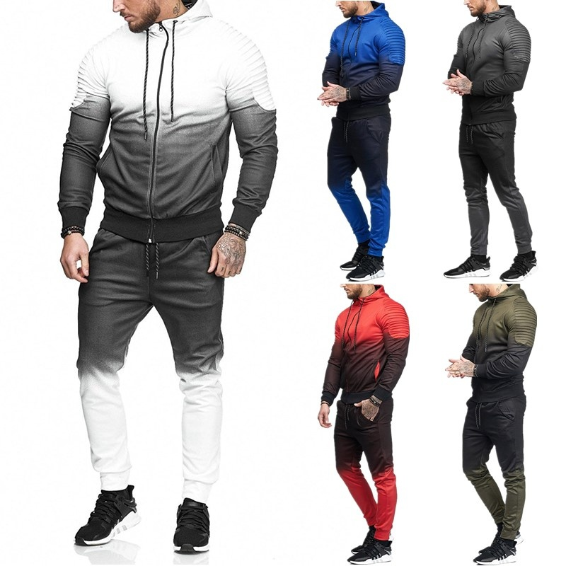 Vogue Casual Men Tracksuits Long Sleeve Gradient Hooded Jogging Tops Bottom Sporty Sweat 2PCS Suit Trousers Hoodie Coat Pant