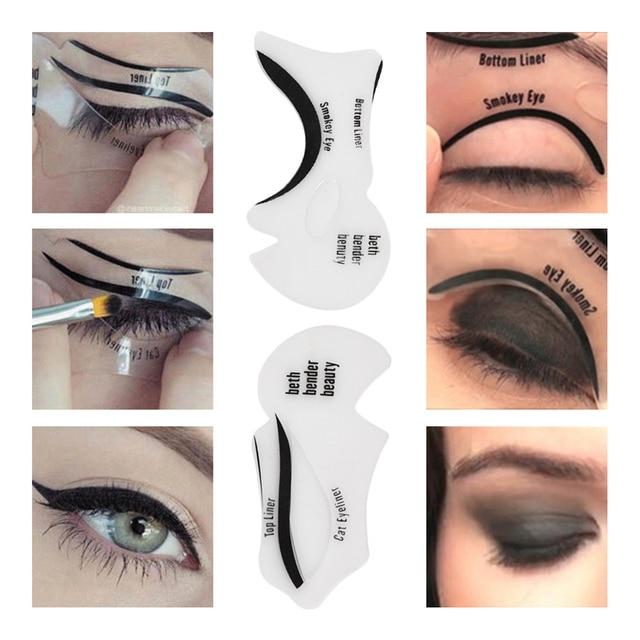10PCS Eyeliner Eye Shadow Stencils Winged Eyeliner Stencil Models Template Shaping Tools Eyebrows Template Card Makeup Tool 5