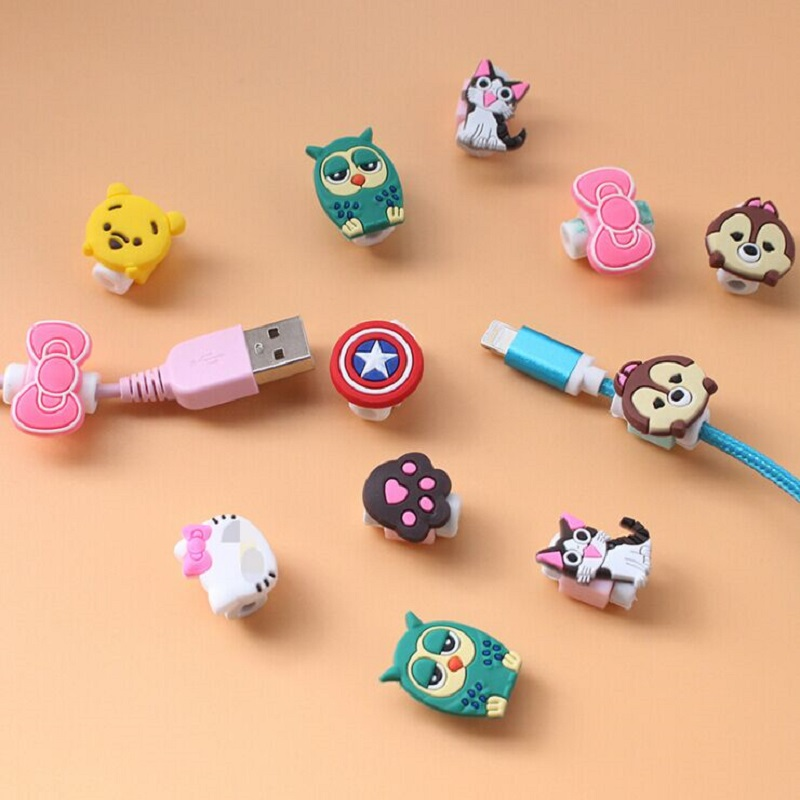 100pcs/lot Cartoon cable protector for iphone cable Winder Cover Organizer Case For USB Charging|Cable Winder| |  - title=