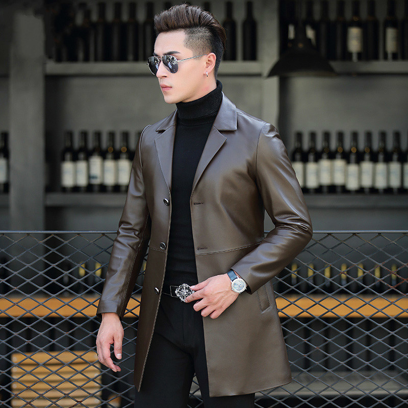 Genuine Sheepskin Leather Jacket Sheepskin Coat Long Windbreaker Leather Coats Men Spring Autumn Jacket T-01-1703 KJ1618