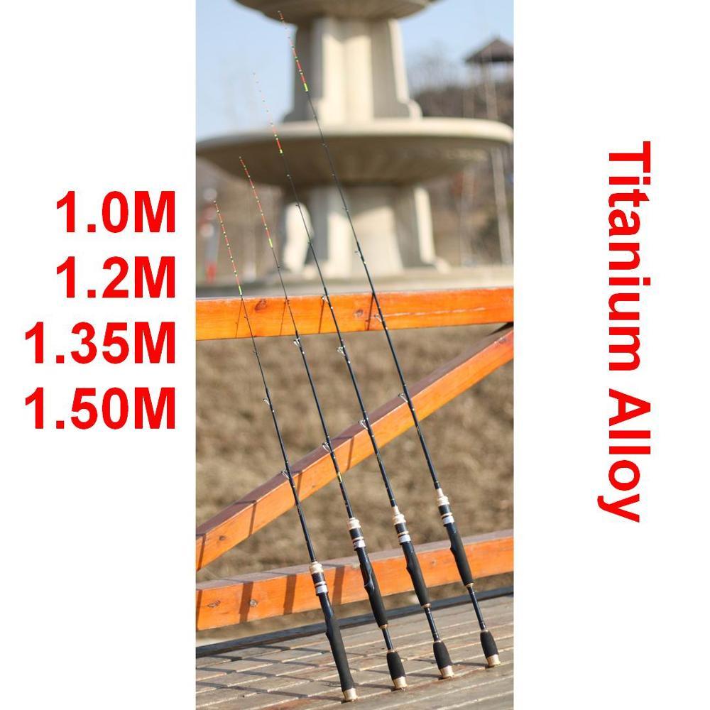 Bridge Boat Ice Raft Fishing Rod IKADA Titanium Alloy+Fiber Glass  1.0M, 1.2M, 1.35M Or 1.5M No Reel With 2pcs Soft Tips