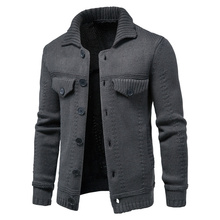 Sweater Men Casual New Autumn Slim Solid Cardigan Tooling-Style Lapel Single-Breasted