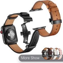 цена на Luxury Genuine Leather Band For Apple Watch Series 5 4 Watchband 40/44mm iWatch Series 3 2 1 42mm 38mm Wrist Strap Bracelet