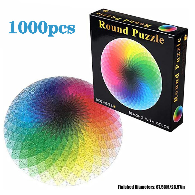 1000 Pieces Jigsaw Puzzle Colorful Rainbow Round Geometrical Photo Puzzle Adult Puzzles Kids Game Toys Home Decoration Toy